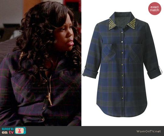 Simply Be Stud Check Shirt worn by Amber Riley on Glee