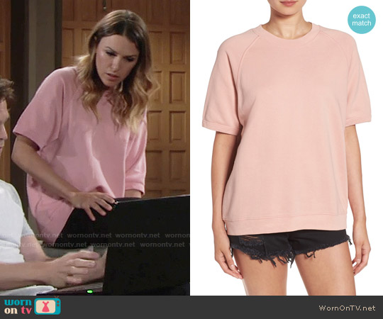 Sincerely Jules 'Cara' Short Sleeve Sweatshirt in Rose worn by Elizabeth Hendrickson on The Young & the Restless