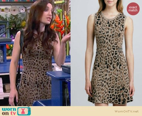 Skaist Taylor A-Line Leopard Dress with Cutout Back worn by Zoe Lister Jones on FWBL