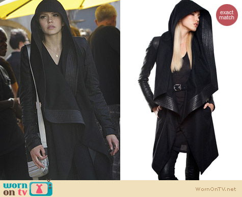 Skingraft Hooded Wool Coat worn by Aimee Teegarden on Star-Crossed