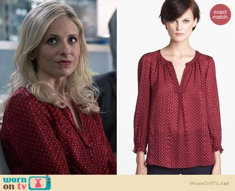 Sarah Michelle Gellar Fashion: Marc by Marc Jacobs Minetta Blouse worn on The Crazy Ones