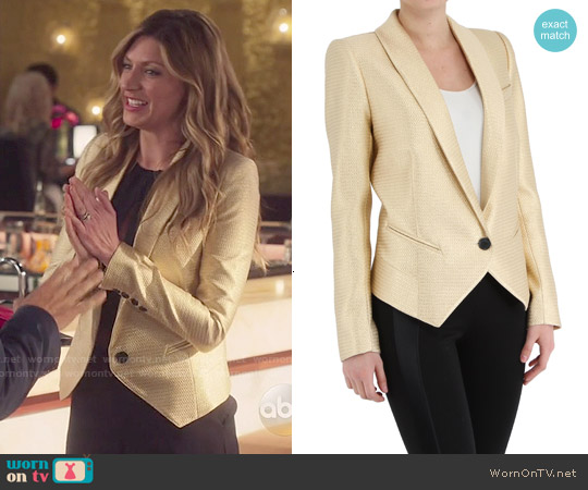 Smythe Gold Anytime Blazer worn by Jes Macallan on Mistresses