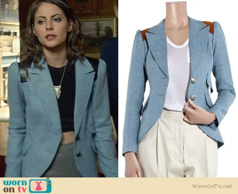 Smythe Wool Equestrian Blazer worn by Willa Holland on Arrow