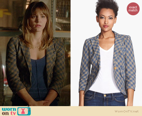 Smythe Leather Elbow Patch Check Linen Blazer worn by Katharine McPhee on Scorpion