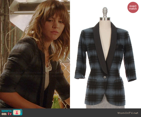 Smythe Plaid Smoking Jacket worn by Katharine McPhee on Scorpion