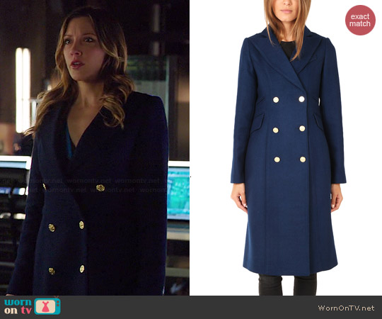 Smythe Reefer Coat in Royal Blue worn by Katie Cassidy on Arrow