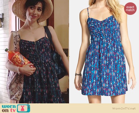 Socialite Print Pleat Bodice Dress worn by Cristin Milioti on A to Z