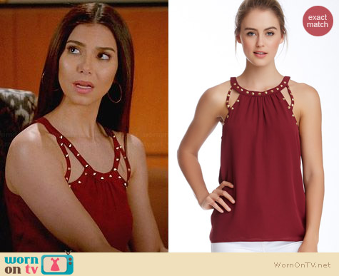 Socialite Studded Cutout Tank worn by Roselyn Sanchez on Devious Maids