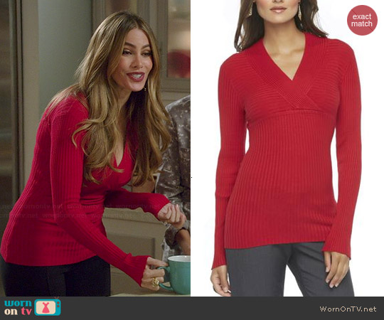 Sofia Vergara for KMart Ribbed V-neck Sweater in Aged Current worn by Gloria on Modern Family