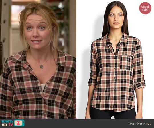 Soft Joie Annabella Plaid Shirt in Almond Multi worn by Becki Newton on Weird Loners