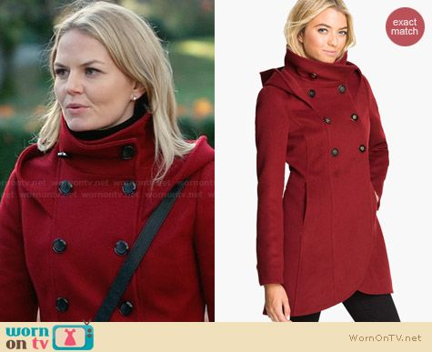 Soia & Kyo Hooded Wool Coat worn by Jennifer Morrison on OUAT