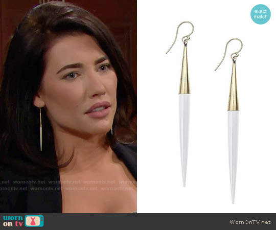Soko Capped Quill Drop Earrings worn by Jacqueline MacInnes Wood on The Bold & the Beautiful