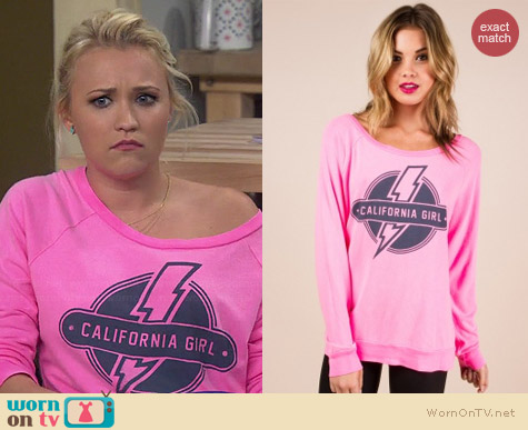 Sol Angeles Bolt California Girl Pullover worn by Emily Osment on Young & Hungry