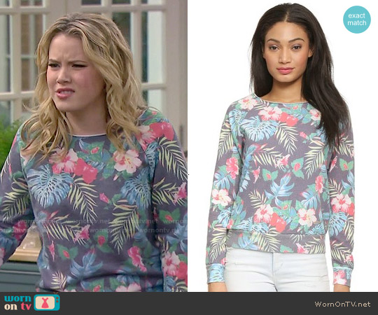 Sol Angeles Floral Sweatshirt worn by Taylor Spreitler on Melissa & Joey