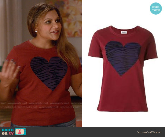 Sonia by Sonia Rykiel Heart Tee worn by Mindy Kaling on The Mindy Project