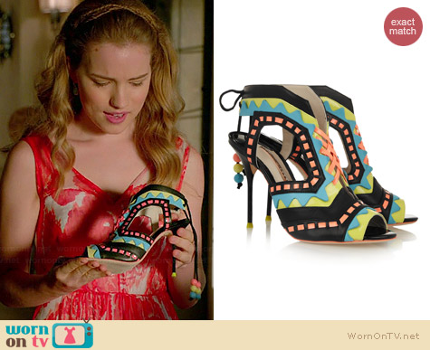 Sophia Webster Riko Cutout Leather Sandals worn by Willa Fitzgerald on Royal Pains