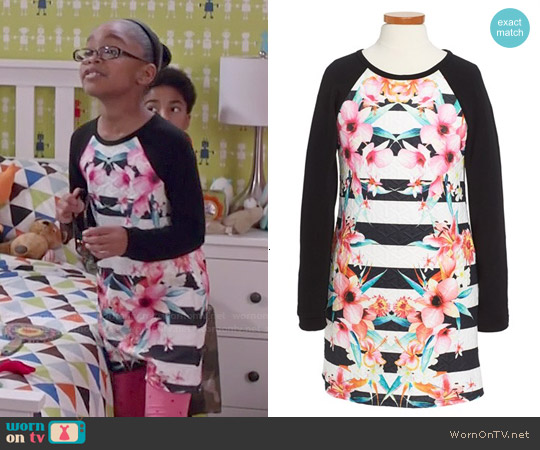 Soprano Textured Raglan Sleeve Dress worn by Marsai Martin on Blackish