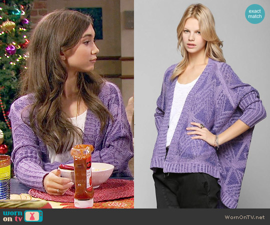 Sparkle & Fade Geo-Plaited Open Cardigan worn by Rowan Blanchard on Girl Meets World