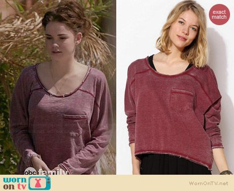 Sparkle & Fade Burnout Sweatshirt worn by Maia Mitchell on The Fosters