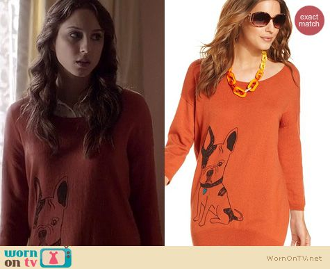Spencer Hastings Fashion: Bar III Dog sweater worn on Pretty Little Liars