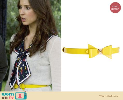 Spencer Hastings Style: Ted Baker Weldon Patent Yellow Bow Belt worn on PLL