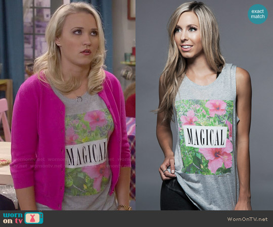 Spiritual Gangster Magical Muscle Tee worn by Emily Osment on Young & Hungry