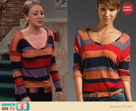 Splendid Barcelone Stripe Top in TerraCotta worn by Kaley Cuoco on The Big Bang Theory