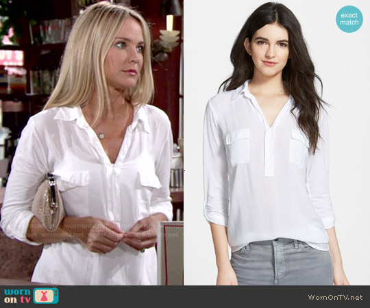 Splendid Lightweight Chest Pocket Shirt worn by Sharon Case on The Young & the Restless