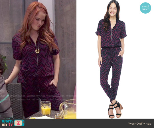 Splendid Aubergine Chevron Zip Jumpsuit worn by Debby Ryan on Jessie