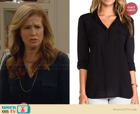 Splendid Black Shirting Top worn by Nancy Travis on Last Man Standing