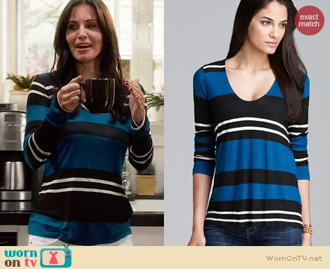Splendid Tribeca Stripe Tee worn by Courtney Cox on Cougar Town