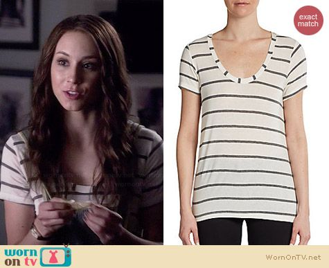 Splendid Boyfriend Stripe Tee worn by Troian Bellisario on PLL