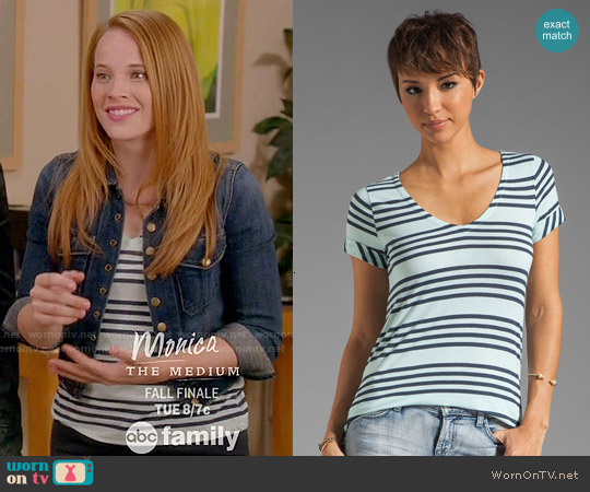 Splendid Capri Stripe Top in Julep worn by Katie Leclerc on Switched at Birth