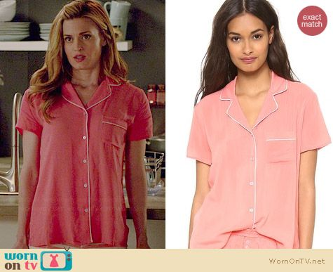 Splendid Classic Pajama Set in Sugar Coral worn by Brooke D'Orsay on Royal Pains