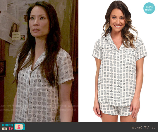 Splendid Classic PJ Set in Vintage Pineapple worn by Lucy Liu on Elementary
