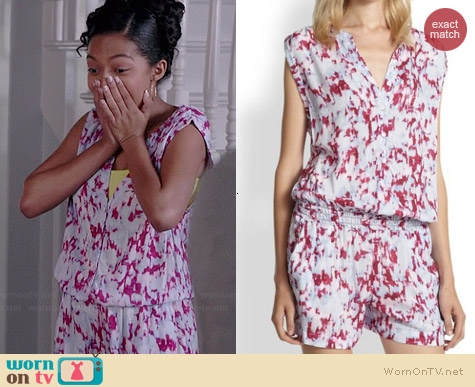 Splendid Desert Rain Tie-Dye Short Jumpsuit in Pink Flamingo worn by Yara Shahidi on Black-ish