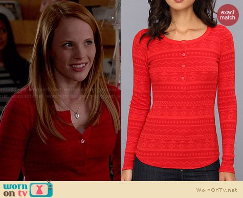 Splendid Fair Isle Thermal Henley Tee worn by Katie Leclerc on Switched at Birth
