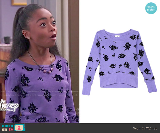 Splendid Girls Floral Sweatshirt worn by Skai Jackson on Jessie