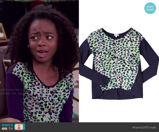 Splendid Girls Leopard V-neck Top worn by Skai Jackson on Jessie