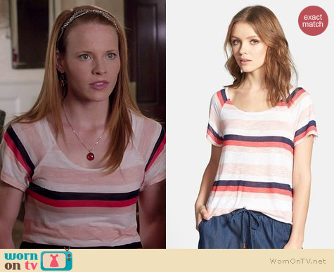 Splendid Horizon Stripe Tee worn by Katie Leclerc on Switched at Birth