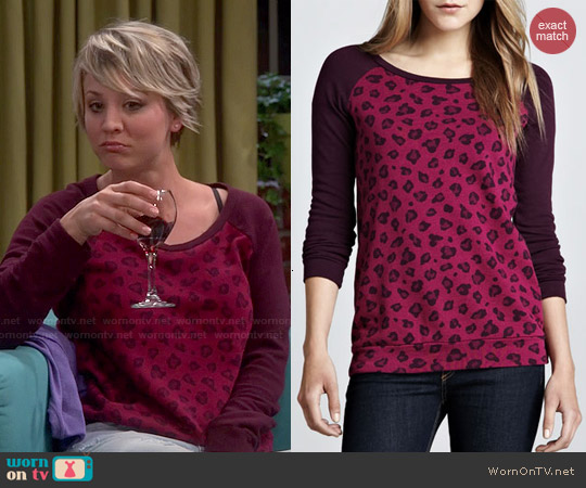 Splendid Leopard-Print Raglan Sweatshirt in Wine worn by Kaley Cuoco on The Big Bang Theory