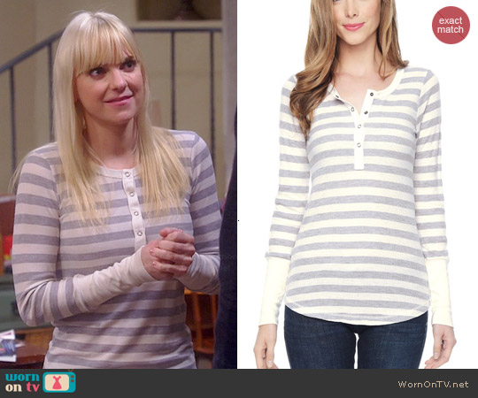 Splendid Long Sleeve Striped Henley Top worn by Anna Faris on Mom