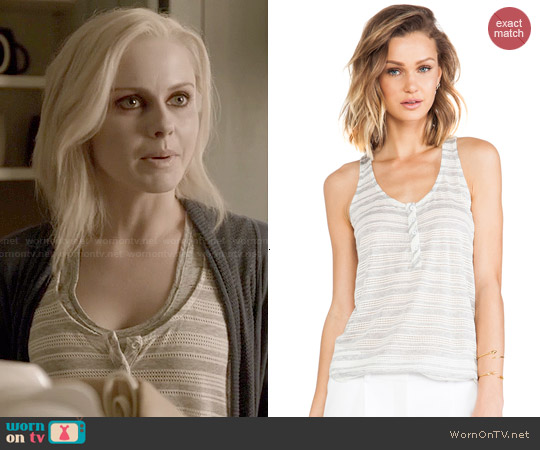 Splendid Marina Eyelet Stripe Tank worn by Rose McIver on iZombie