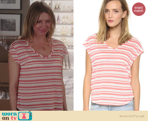 Splendid Marina Eyelet Stripe Top in Coral worn by Jess Macallan on Mistresses