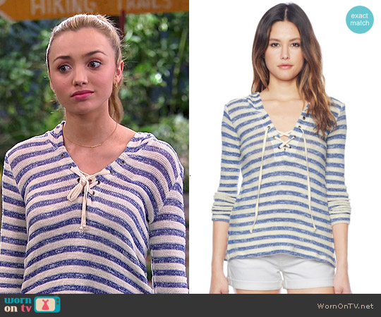 Splendid Ohana Stripe Hoodie worn by Peyton List on Bunkd