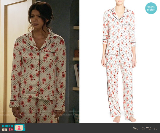 Splendid Piped Pajamas in Poppy Party worn by Andrea Navedo on Jane the Virgin