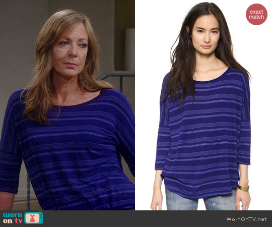 Splendid Blue Ridge Stripe Dolman Tee worn by Allison Janney on Mom