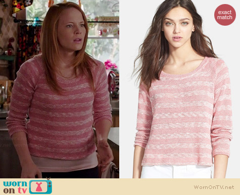 Splendid Sierra Knit Stripe Pullover in Desert Rose worn by Katie Leclerc on Switched at Birth
