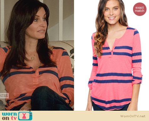 Splendid Soho Stripe Henley Tee worn by Courtney Cox on Cougar Town