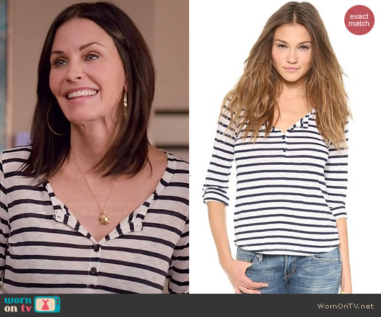 Splendid Striped Henley worn by Courtney Cox on Cougar Town